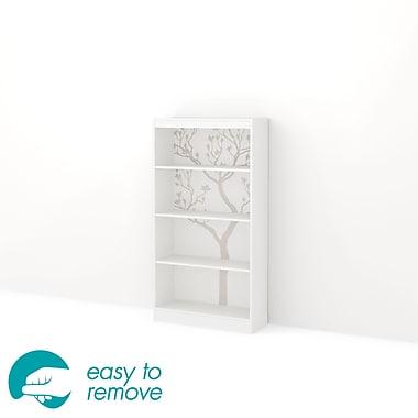 """Bibliothèque 4 tablettes avec autocollants d'arbre, blanc, Axess de South Shore, 31""""L x 12""""D x 58""""H"""