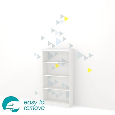 South Shore Axess 4-Shelf Bookcase with Funny Triangles Decals, White, 30.75 (L) x 11.5 (D) x 58 (H)