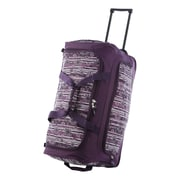 Olympia 26'' Fashion Rolling Duffle Bag; Purple Floral