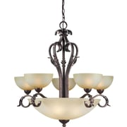 Forte Lighting 9 Light Chandelier with Umber Mist Shades