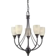 Forte Lighting 5 Light Chandelier; Antique Bronze / Umber Linen
