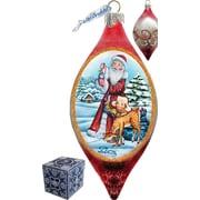 G Debrekht Holiday Santa Kids Cut Glass Ornament Drop