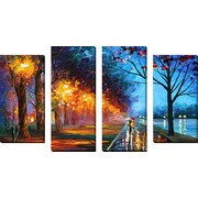 FramedCanvasArt 'Alley by the Lake 1' by Leonid Afremov 4 Piece Painting Print on Wrapped Canvas Set