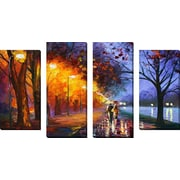 FramedCanvasArt 'Alley by the Lake 2' by Leonid Afremov 4 Piece Painting Print on Wrapped Canvas Set