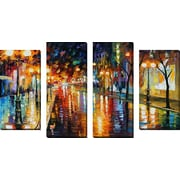 FramedCanvasArt 'Night Perspective' by Leonid Afremov 4 Piece Painting Print on Wrapped Canvas Set