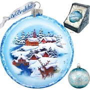 G Debrekht Holiday Winter Landscape Glass Ornament