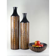 Modern Day Accents 3 Piece Reeded Vase and Bowl Set