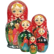 G Debrekht Russian 5 Piece Scarlet Flower Nested Doll Set