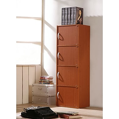 Hodedah 4 Door Storage Cabinet; Cherry