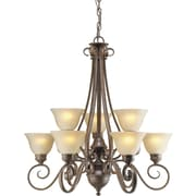 Forte Lighting 9 Light Chandelier with Gold Shades
