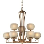 Forte Lighting 9 Light Chandelier with Umber Linen Shade