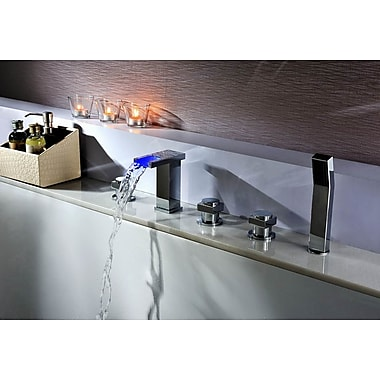 Sumerain Deck Mount Tub Faucet Set w/ Handheld Sprayer