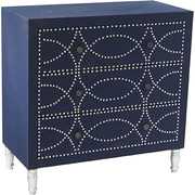 Crestview Fabric Nailhead 3 Drawer Chest