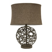 Decor Therapy Strapped Steel Ball 22'' Table Lamp with Drum Shade