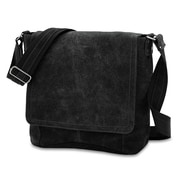 David King Vertical Simple Distressed Messenger Bag; Black