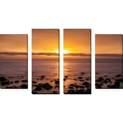 FramedCanvasArt 'Pacific Sunset' by Chris Moyer 4 Piece Photographic Print on Wrapped Canvas Set
