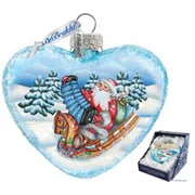 G Debrekht Holiday Love Heart Accordion Santa Glass Ornament
