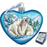 G Debrekht Holiday Polar Bear Love Heart Glass Ornament