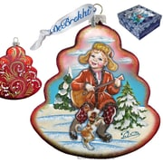 G Debrekht Holiday Dancing Boy Tree Glass Ornament