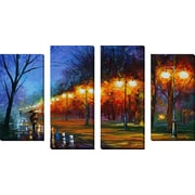 FramedCanvasArt 'Fall, Rain, Alley' by Leonid Afremov 4 Piece Painting Print on Wrapped Canvas Set