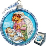 G Debrekht Holiday Jesus and Angel Cut Ball Glass Ornament