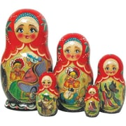G Debrekht Russian 5 Piece Riding Hood Nested Doll Set
