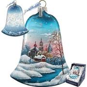 G Debrekht Holiday Winter Landscape Glass Bell Ornament