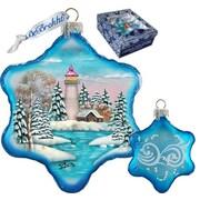G Debrekht Holiday Lighthouse Snowflake Glass Ornament