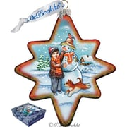 G Debrekht Holiday Build A Snowman North Star Glass Ornament