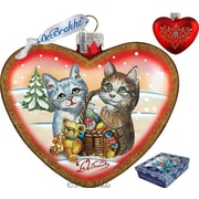 G Debrekht Holiday Kitty Cats Love Heart Glass Ornament