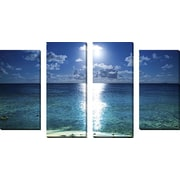 FramedCanvasArt 'Kualoa Moonrise' by Cameron Brooks 4 Piece Photographic Print on Wrapped Canvas Set