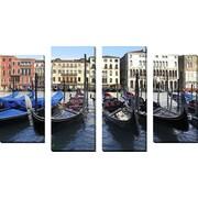 FramedCanvasArt 'Venice Gondolas' by Chris Bliss 4 Piece Photographic Print on Wrapped Canvas Set