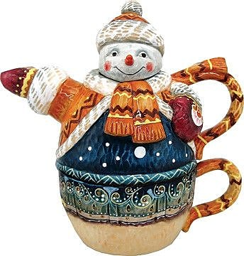 G Debrekht 2 Piece Snowman Teapot and Cup Set WYF078278022301