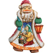 G Debrekht Derevo Santa Girl with Toys Ornament Figurine with Scenic Painting