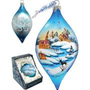 G Debrekht Holiday Winter Village Glass Ornament