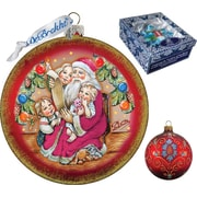 G Debrekht Holiday Santa's List Circle Glass Ornament