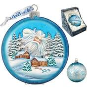 G Debrekht Holiday Guardian Santa Village Glass Ornament