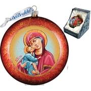 G Debrekht Holiday Mary of Vladimir Cut Ball Glass Ornament
