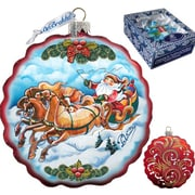 G Debrekht Holiday Sleigh Ride Flower Glass Ornament