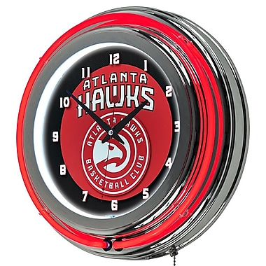 Trademark Global® Chrome Double Ring Analog Neon Wall Clock, Atlanta Hawks NBA