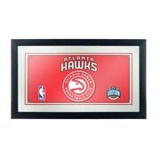 """Trademark Global® 15"""" x 27"""" Black Wood Framed Mirror, Atlanta Hawks NBA"""