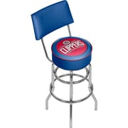 Trademark Global® Vinyl Padded Swivel Bar Stool With Back, Blue, Los Angeles Clippers NBA