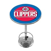 "Trademark Global® 27.37"" Solid Wood/Chrome Pub Table, Blue, Los Angeles Clippers NBA"
