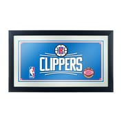 "Trademark Global® 15"" x 27"" Black Wood Framed Mirror, Los Angeles Clippers NBA"
