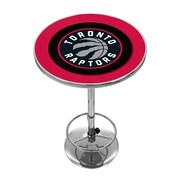 "Trademark Global® 27.37"" Solid Wood/Chrome Pub Table, Black, Toronto Raptors NBA"