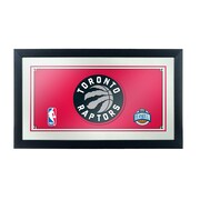 "Trademark Global® 15"" x 27"" Black Wood Framed Mirror, Toronto Raptors NBA"