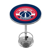 "Trademark Global® 27.37"" Solid Wood/Chrome Pub Table, Blue, Washington Wizards NBA"