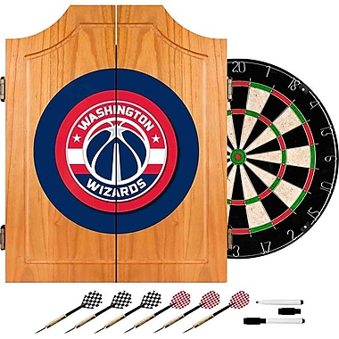 Trademark Global® Solid Pine Dart Cabinet Set, Washington Wizards Beveled NBA