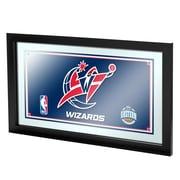 """Trademark Global® 15"""" x 27"""" Black Wood Framed Mirror, Washington Wizards NBA"""