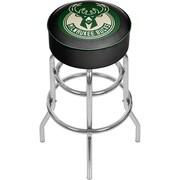 Trademark Global® Vinyl Padded Swivel Bar Stool, Green, Milwaukee Bucks NBA